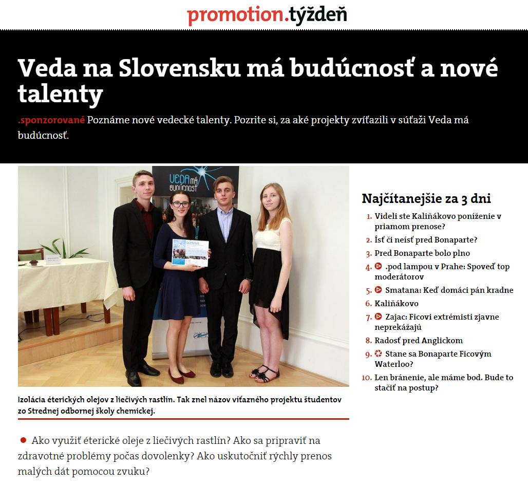 Veda na Slovensku má budúcnosť a nové talenty